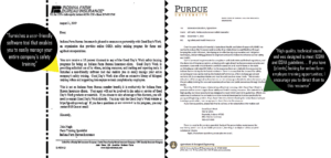 Recommendation letters from Indiana Farm Bureau and Purdue University